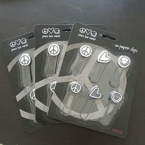 3 sets of Peace Love World paper clips